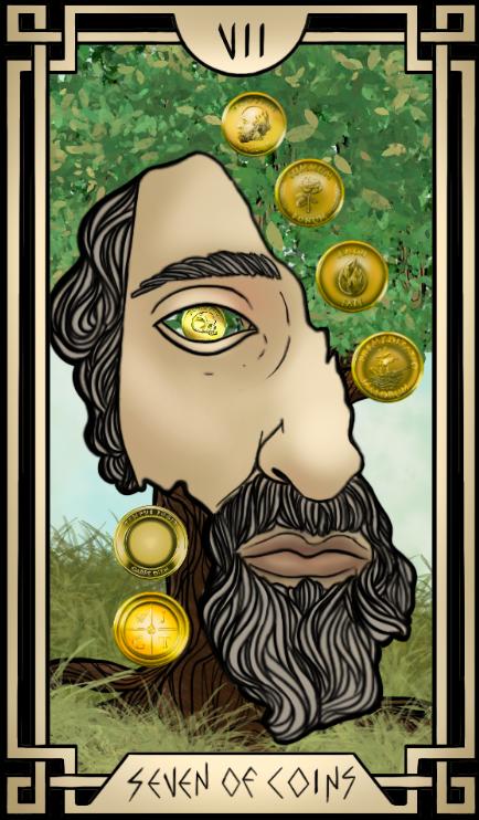 Stoic Tarot Seven of Coins Tarot Card